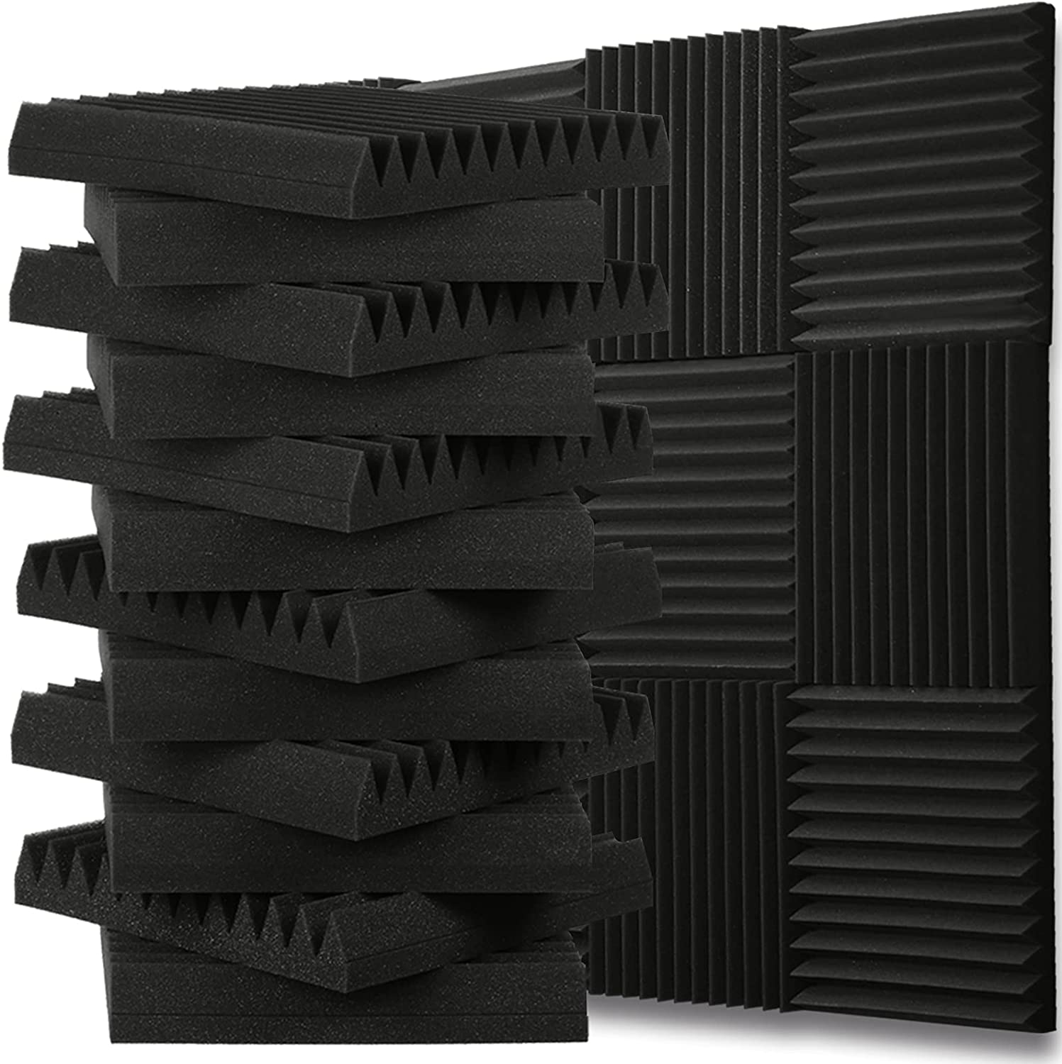 12 Pack 12x12x2 Acoustic Panels Sound Absorbing-Acoustic Foam for Studio Acoustic Treatment, Sound Panels Noise Reducing for Wall and Ceiling,Sound Proof Foam Panels for Studio,Office,Home Theater