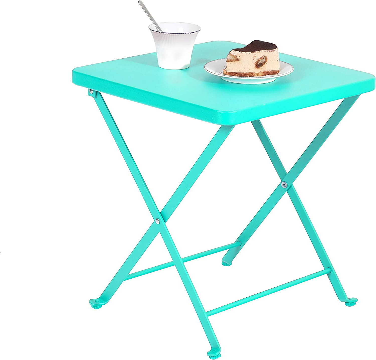 PHI VILLA Folding Patio Side Table Outdoor Steel Coffee Table, Small Patio End Bistro Tables, Turquoise