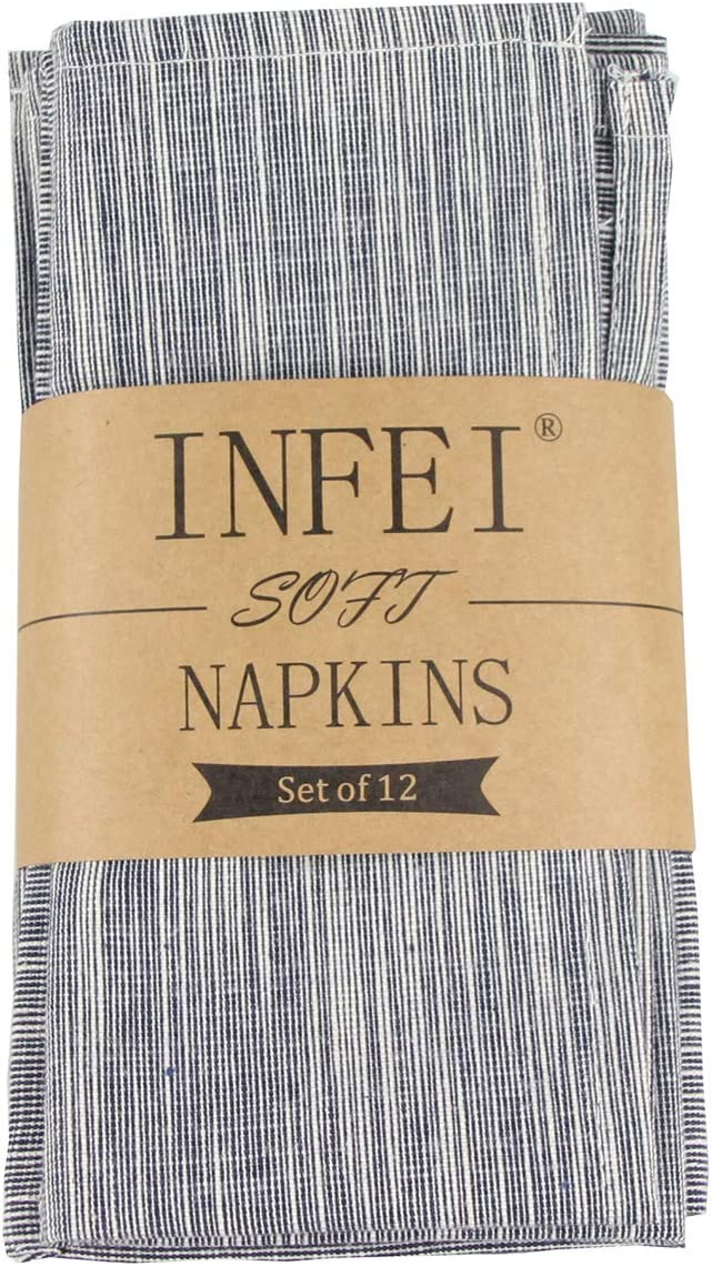 INFEI Vintage Grain Linen Cotton Dinner Cloth Napkins - Set of 12 (40 x 30 cm) - for Events & Home Use (Navy)