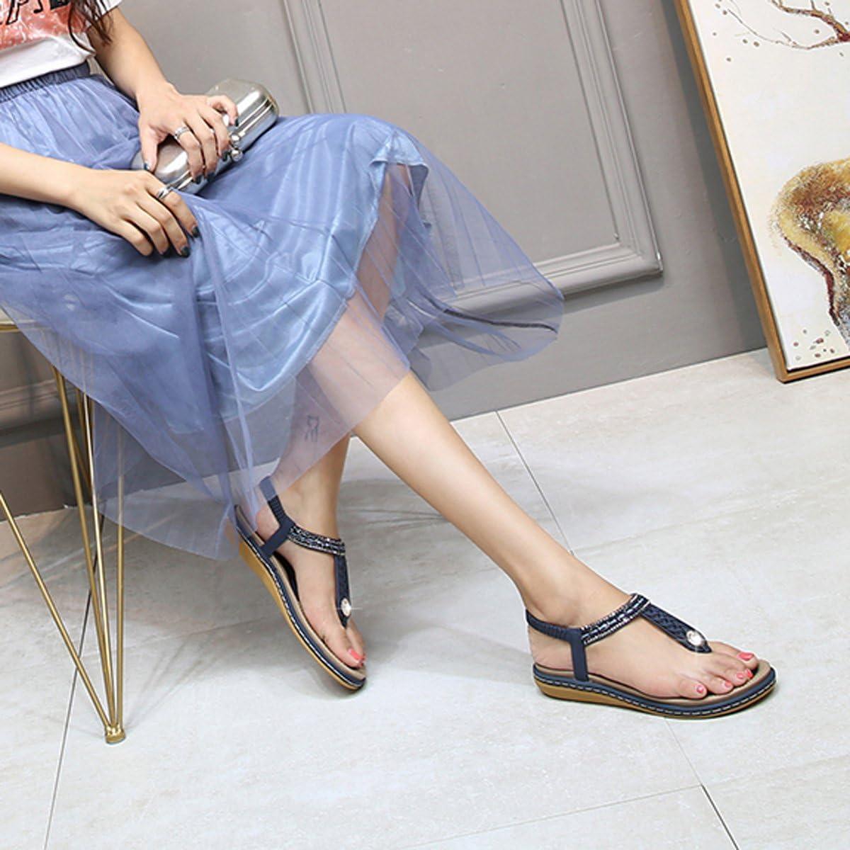 Tongs Chaussures /Ét/é Nu Pieds /à Talons Plats Claquettes Plage Bride Cheville Sandales Compens/ées Confortables Strass 2019 Noir Bleu Beiges gracosy Sandales Femmes Plates