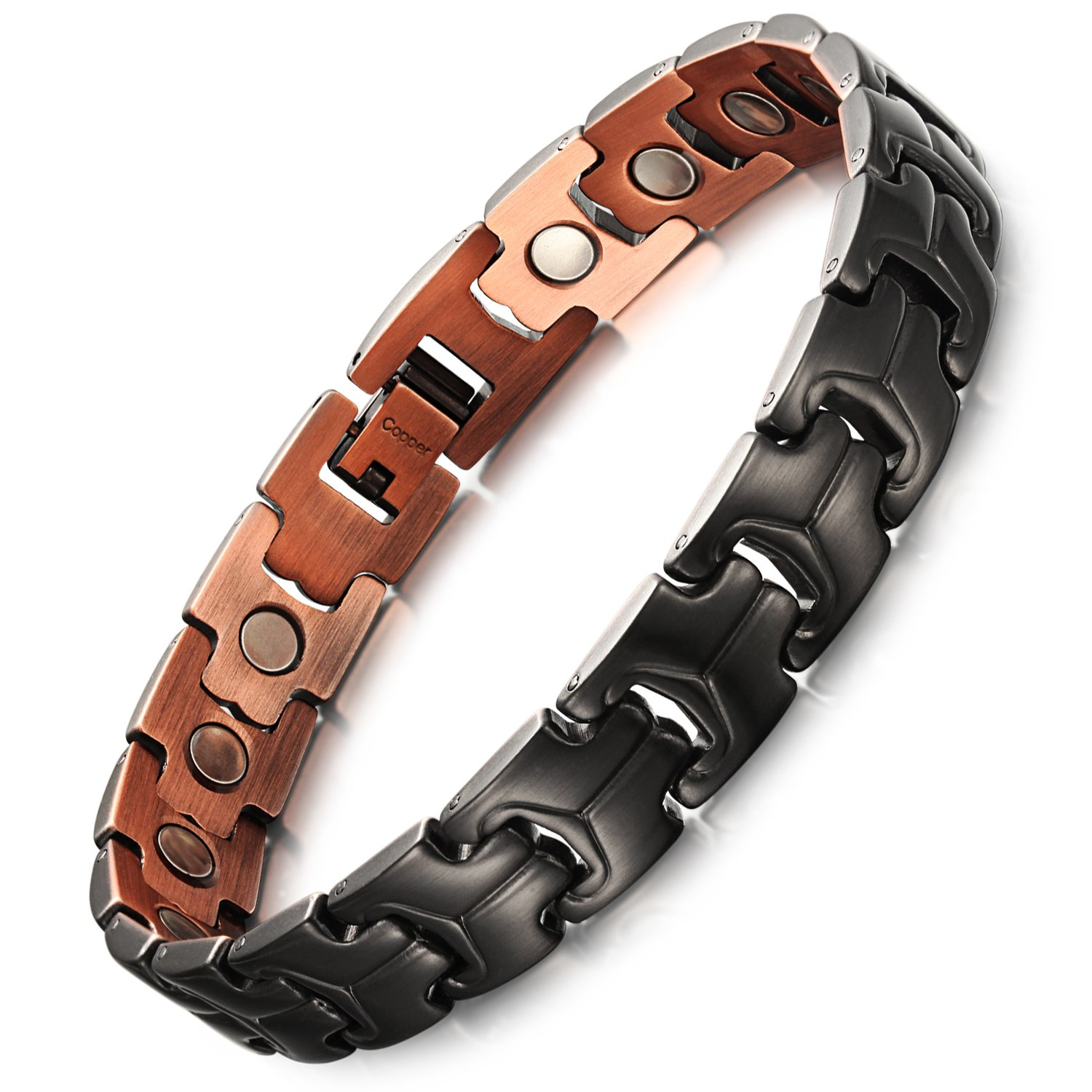 Rainso Mens Copper Gun Black Magnetic Therapy Bracelets for Arthritis Wristband Adjustable