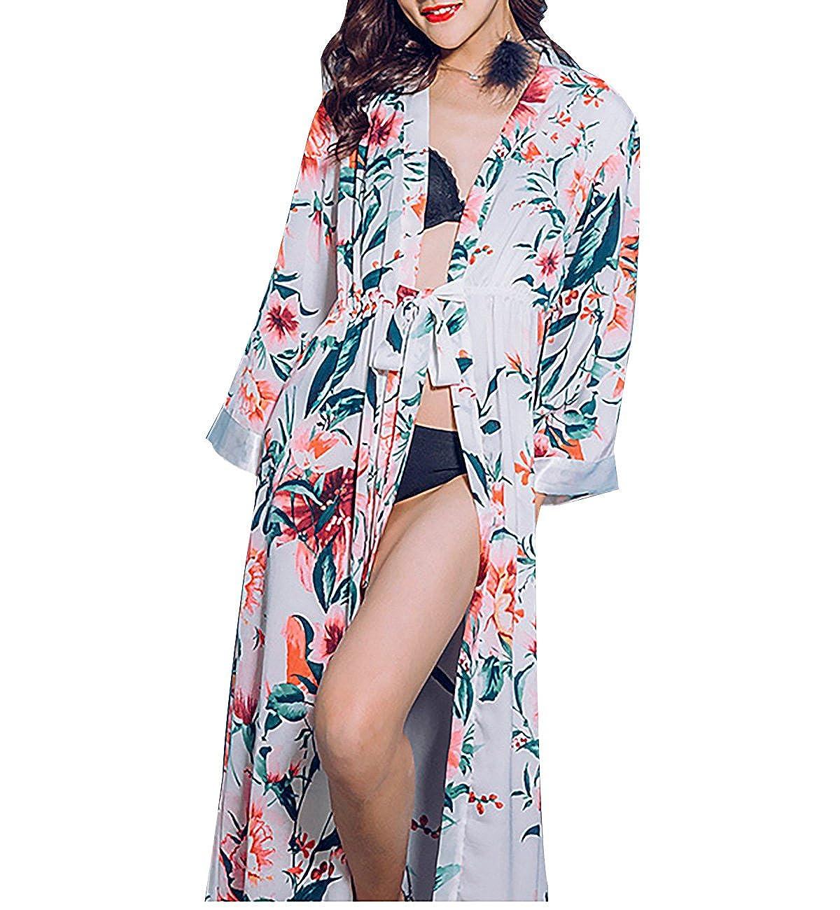 Surenow Women s Satin Polyester Silk Dressing Gown Floral Pattern High  Split Sexy Lepoard Sleepwear Loungewear Elegant Kimono Long Bath Robe  Comfortable ... 3e590cc5d