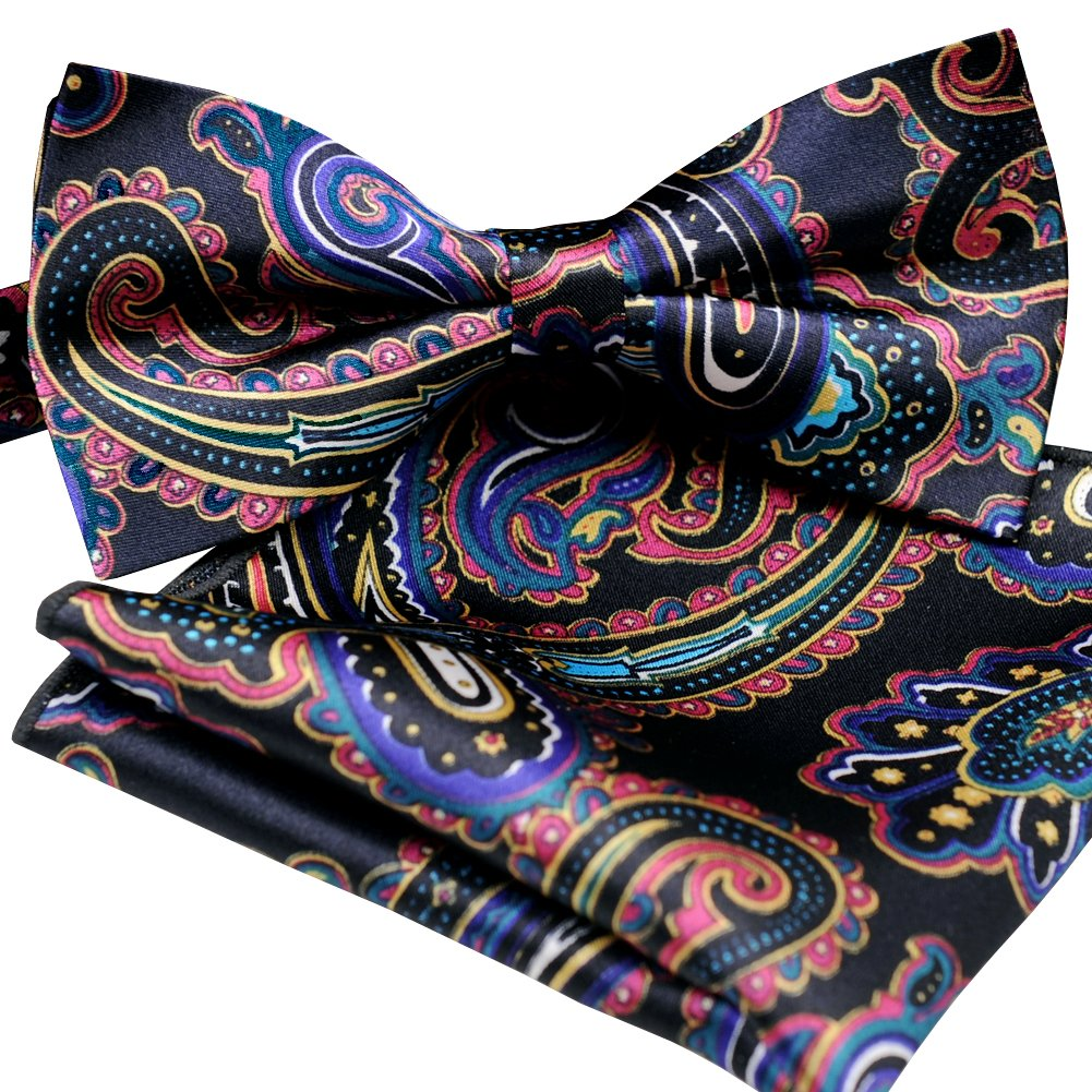 ST34 Brand new Silk feel SATIN Navy and Multicolored Paisley Bow tie for Men Bow tie and Pocket square SET BB-875