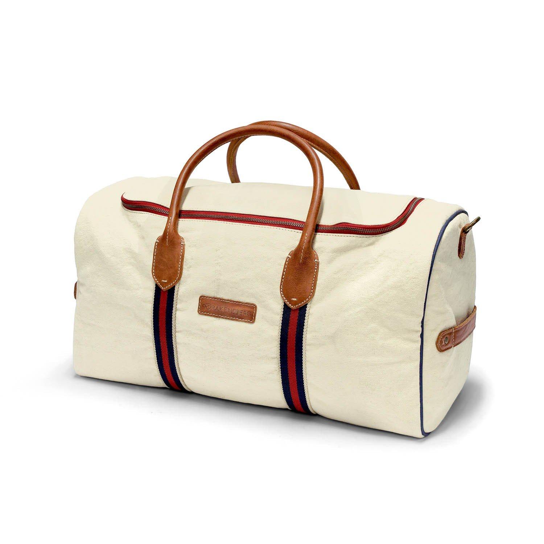 DRAKENSBERG Eastport Gym Bag, weekender, sac de voyage, fourre-tout, bagage à main, artisanat, carry-all, toile, canvas, cuir de vachette, voyage sportif, vintage, blanc crème, marron cognac