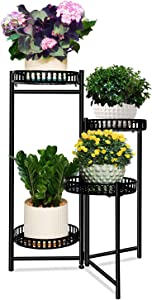 JzNova 4-Tier Heavy Duty Plant Potted Stand, Rotatable Metal Flower Pot Holders Garden, Modern Planter Container, Folding Indoor & Outdoor Home Decor Multi-Angle Display Rack, Black