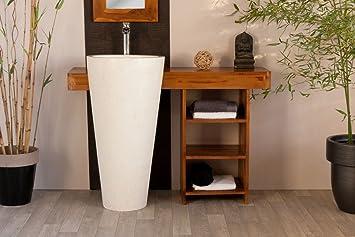 Meuble de salle de bain en teck OSIRIS 120cm avec colonne vasque ...