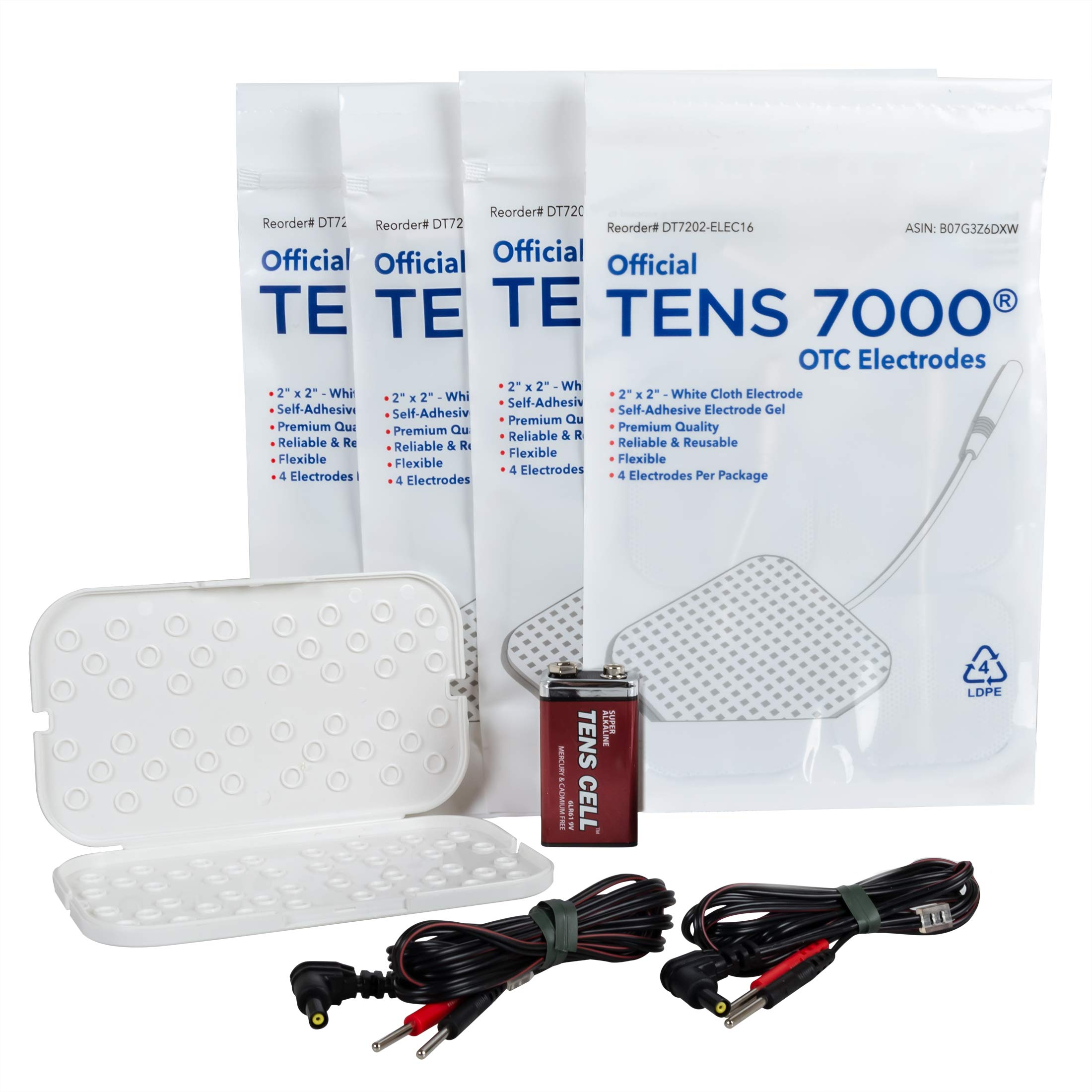 TENS 7000 Refill Kit - Includes 16 Premium TENS Unit Replacement Pads, 4 Lead Wires, 9-Volt Replacement Battery, 1 Electrode Pad Holder