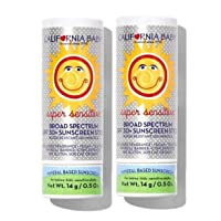 California Baby SPF 30 Sunscreen Stick for Super Sensitive Skin, Broad Spectrum Sunblock for Kids, Babies and Adults, Water Resistant Mineral Based Protection, (.5 ounces) (2 pack)