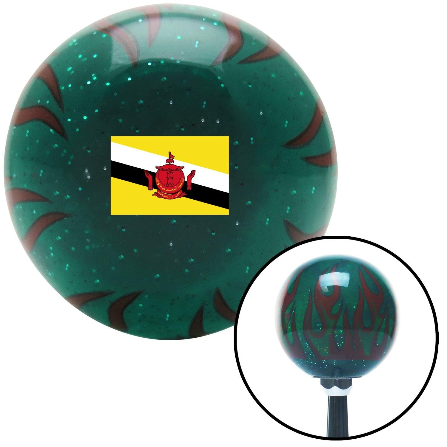 Brunei Green Flame Metal Flake with M16 x 1.5 Insert American Shifter 311055 Shift Knob