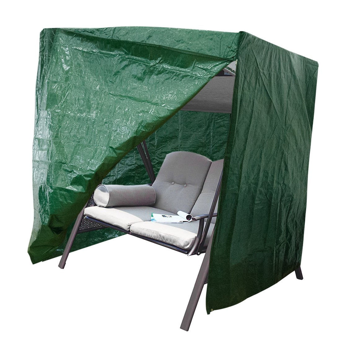 APARESSE Outdoor 2-Seater Hammock Swing Glider Canopy Cover Green, All Weather Protection, Water Resistant, 69''L x 54''W x 69''H