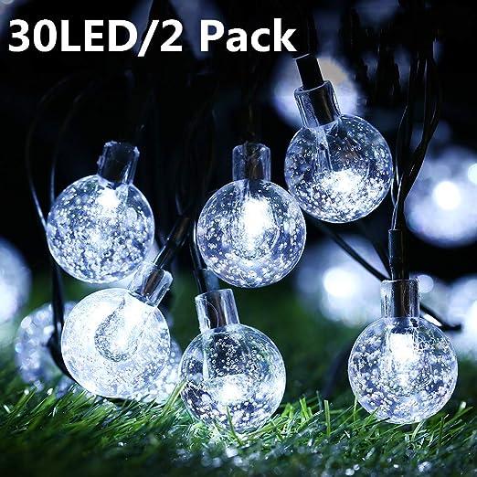 Guirnalda Luces Exterior Solares, BrizLabs 2 x 30 LED Cadena de Luces impermeable 8 modos de Iluminación, para interiores y exteriores Jardín, Navidad, Terraza, Patio, Fiestas (Blanco Frio): Amazon.es: Iluminación