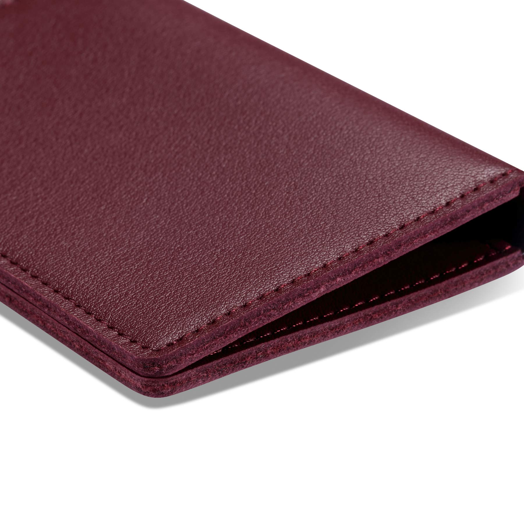 HISCOW Minimalist Thin Bifold Card Holder - Italian Calfskin (Bordeaux) by HISCOW (Image #4)