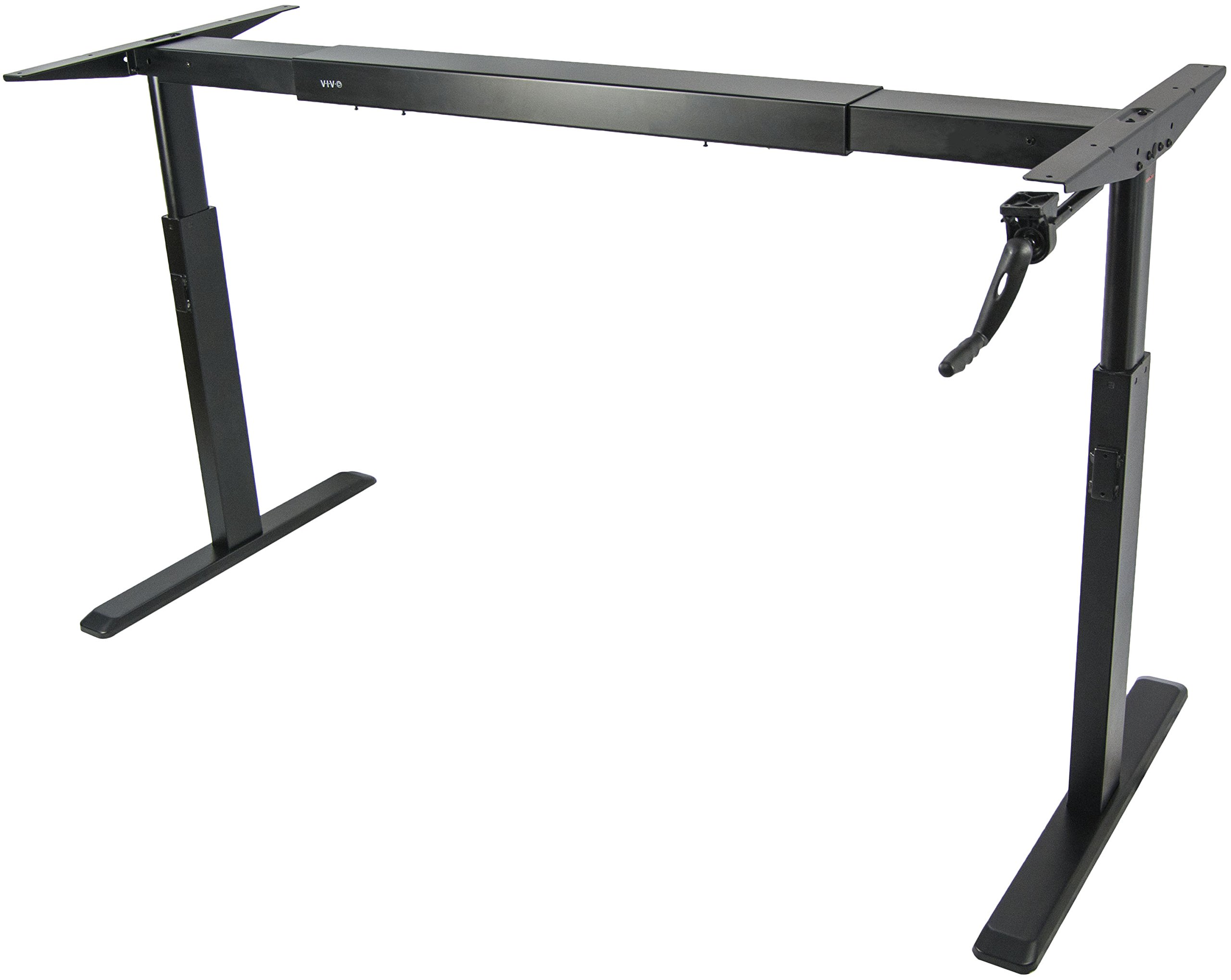 VIVO Manual Crank Stand Up Steel Desk Frame System Ergonomic Standing Height Adjustable (DESK-V100M)