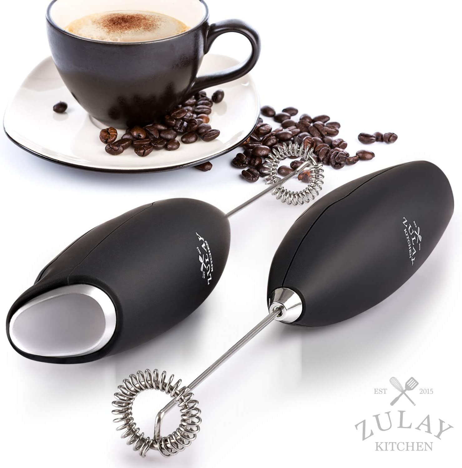 Includes Frother Mini Blender and Foamer Perfect for Coffee Whisk Drink Mixer Handheld Foam Maker for Lattes Decorating Stencils and Frothing Cup Zulay Milk Boss Milk Frother Complete Set