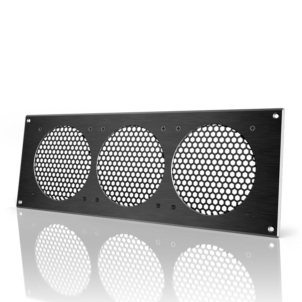 AC Infinity Black Ventilation Grille 18'', for PC Computer AV Electronic Cabinets, also mounts three 120mm Fans