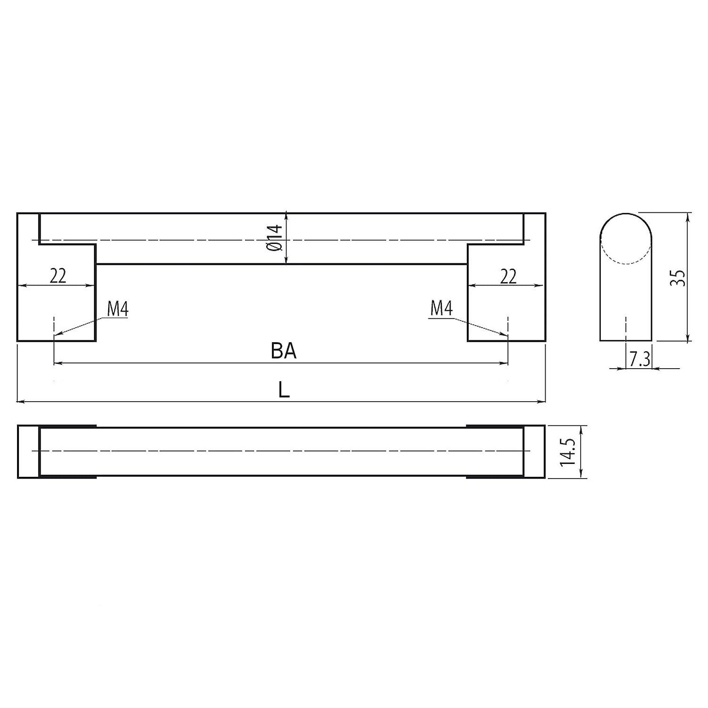 SO-TECH/® G15 M/öbelgriff BA 816 mm Edelstahloptik /Ø 14 mm