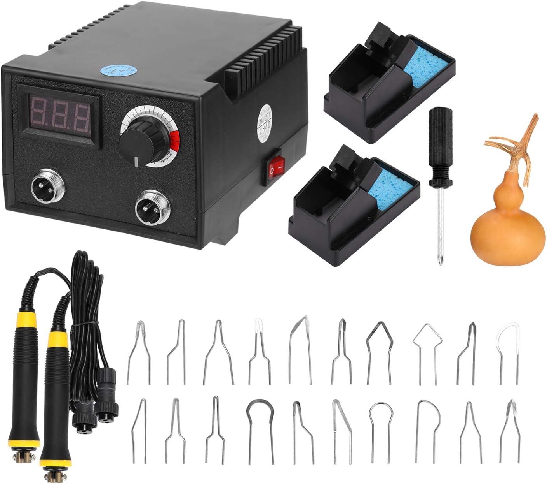 KKmoon Máquina de Pirograbado de Madera de Calabaza Eléctrica Multifuncional, con Pantalla Digital 100 W, con Cabezales de Bolígrafo Calefactor 20 piezas