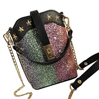 fashion Womens Leather Sequins Crossbody Bag Shoulder Bags Purse Hand Bag womens handbags totes shoulder bags