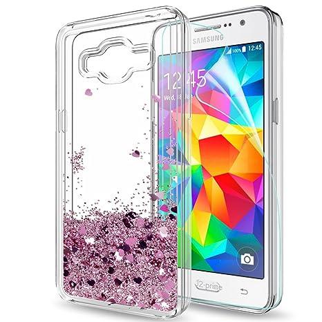 b51f7ca633a5d7 LeYi Coque Galaxy J2 Prime Grand Prime Plus Etui avec Protection écran,  Fille Personnalisé Liquide