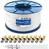 Cable coaxial deleyCON HQ+ 100m Sat 135dB blindado de 5 Capas DVB-S+S2