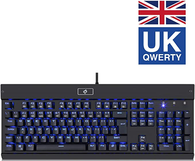 Eagletec KG010-UK Teclado Gaming Mecánico Cable USB Ergonómico Retroiluminación, 105 Teclas Para Juego PC De Escritorio Ordenador Aluminio De Grado ...