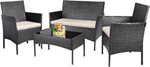 KaiMeng Patio Furniture Sets Outdoor 4 Pieces Indoor Use Conversation Sets Rattan Wicker Chair with Table Backyard Lawn Porch Garden Poolside Balcony Furniture (Black)