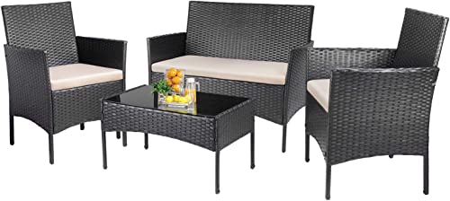 KaiMeng Patio Outdoor 4 Pieces Indoor Use Conversation Sets Rattan Wicker Chair