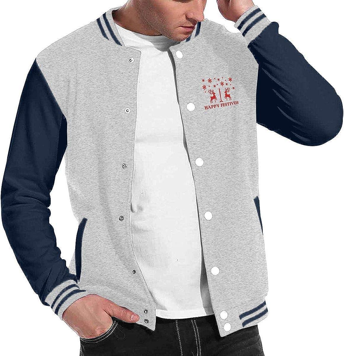 JJKKFG-H Happy Festivus Deers Mens Style Baseball Uniform Jacket Sport Coat