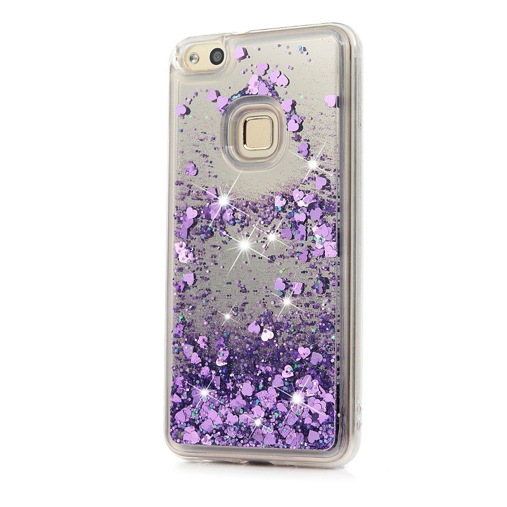 Tophung Huawei P10 Lite - Carcasa de silicona para Huawei P10 Lite (efecto espejo, purpurina brillante, efecto brillante, con arena rápida), transparente, Lite Colorful