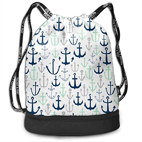 eb018ef3e2 Image Unavailable. Image not available for. Color  Mint and Grey Anchor  Drawstring Bag Rucksack Shoulder Bags Travel Sport Gym ...