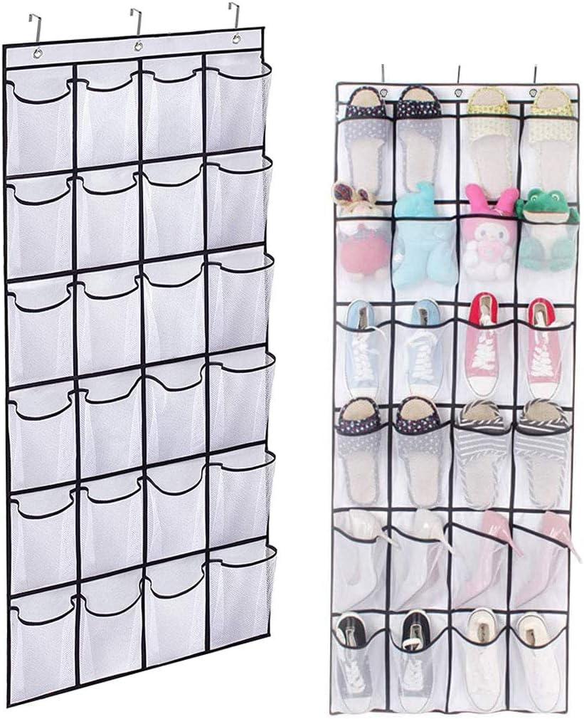 Organizador de zapatos colgado sobre la puerta, organizador colgante para guardar zapatos, estante colgante con 24 bolsillos grandes