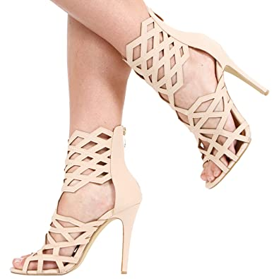 73dc78cbd4bc NEW WOMENS LADIES HIGH HEEL ZIP UP CAGED GLADIATOR ANKLE BOOTS SHOES SIZE 3- 8  Amazon.co.uk  Shoes   Bags