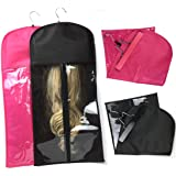 1 Pcs Foldable Portable Dustproof Wig Storage Bag for Hair Extension with Wooden Hanger Black Wig Bag Carrier Case…