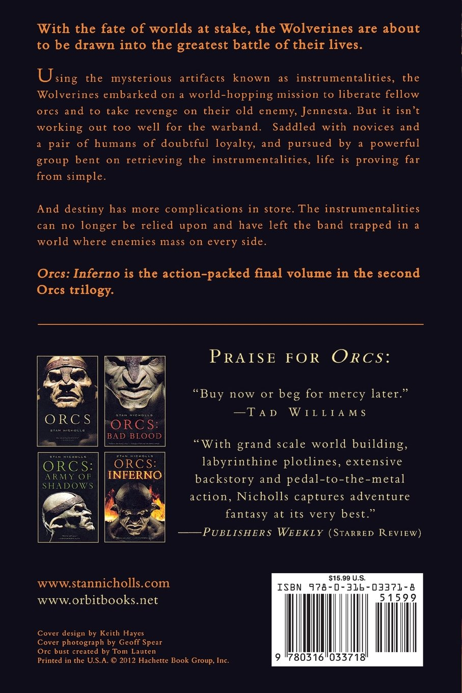 Orcs: Inferno: Stan Nicholls: 9780316033718: Amazon com: Books