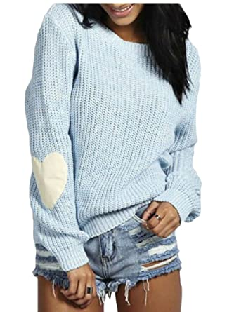01f0a9f1ede ARTFFEL Women Casual Long Sleeve Crew Neck Heart Love Knitted Pull-Over  Sweater 1 S