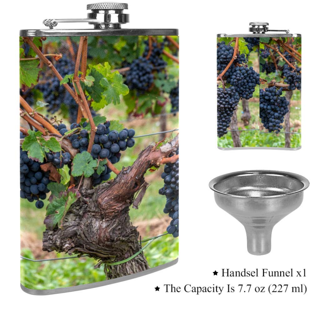 Whiskey Rum and Vodka Gift for Husband,Father 8oz Sunflower Golden Autumn Flask for Liquor with Funnel Leak Proof Stainless Steel Pocket Hip Flask with Leather Cover for Drinking of Alcohol
