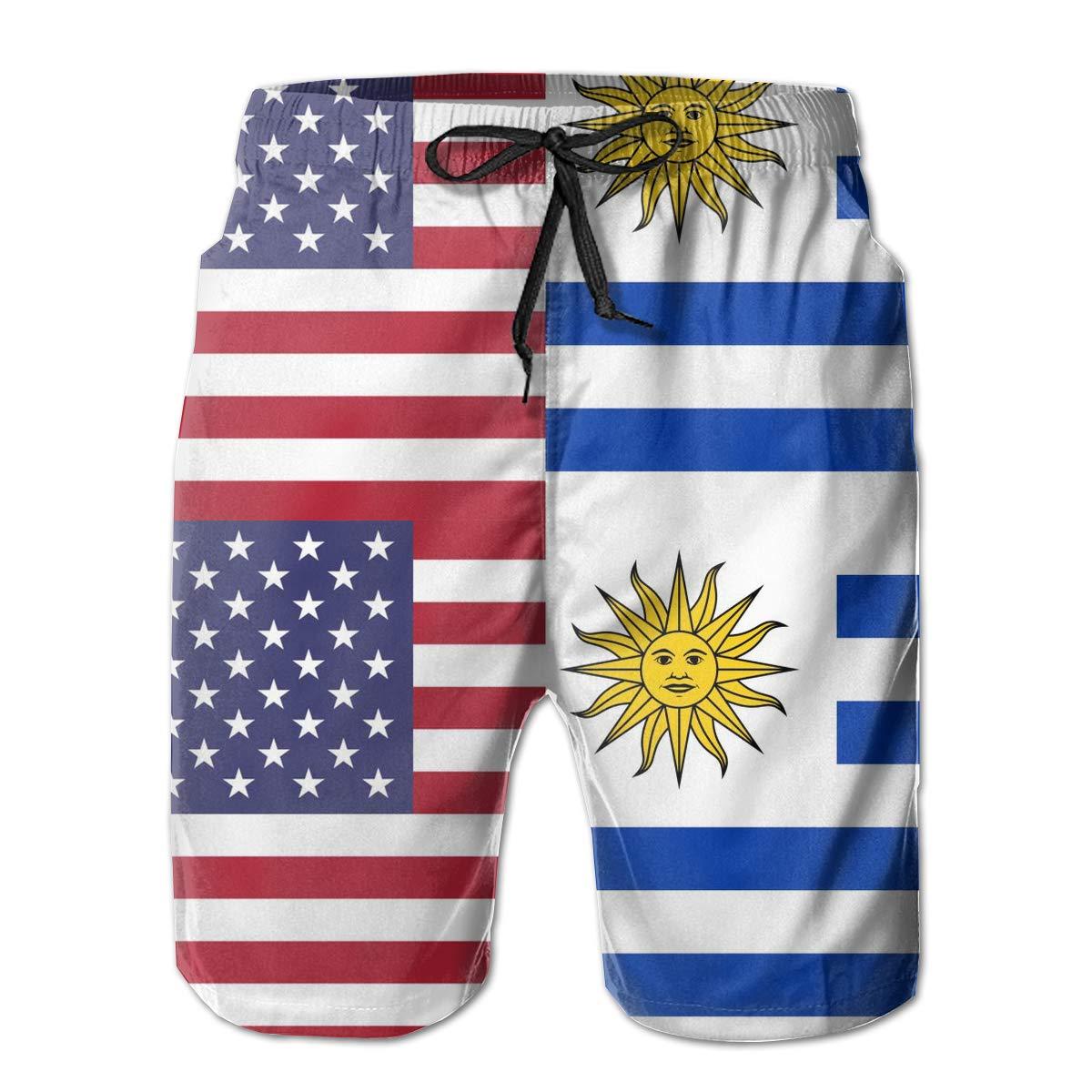 TBVS 79 Uruguay American Half Flag Mens Summer Casual Boardshort with Pocket Drawstring