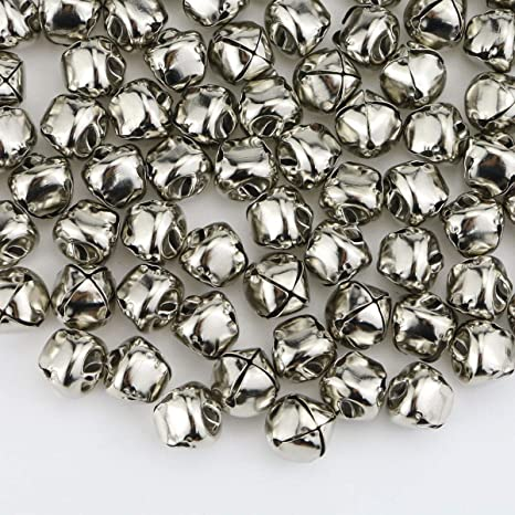 """0.5/"""" Beads for Decoration DIY Crafts Silver Christmas Bell 200 Jingle Bells"""