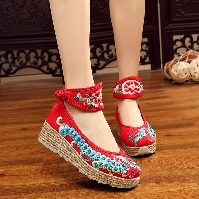 Chnuo Frühling Sommer damen bestickte schuhe aus Gestickte Schuhe Leinen Sehnensohle ethnischer Stil erhöhte weibliche Schuhe Mode bequem lässig red and white 40 szhpx067S