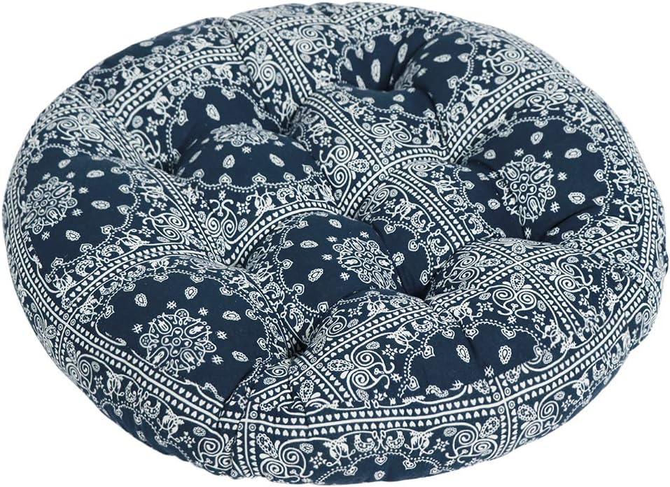 Tiita Boho Floor Pillow, Mandala Flower Meditation Pillow, Round Patio Seat Cushion, India Floor Pad, Indoor/Outdoor, 22x22 Inch (Blue)