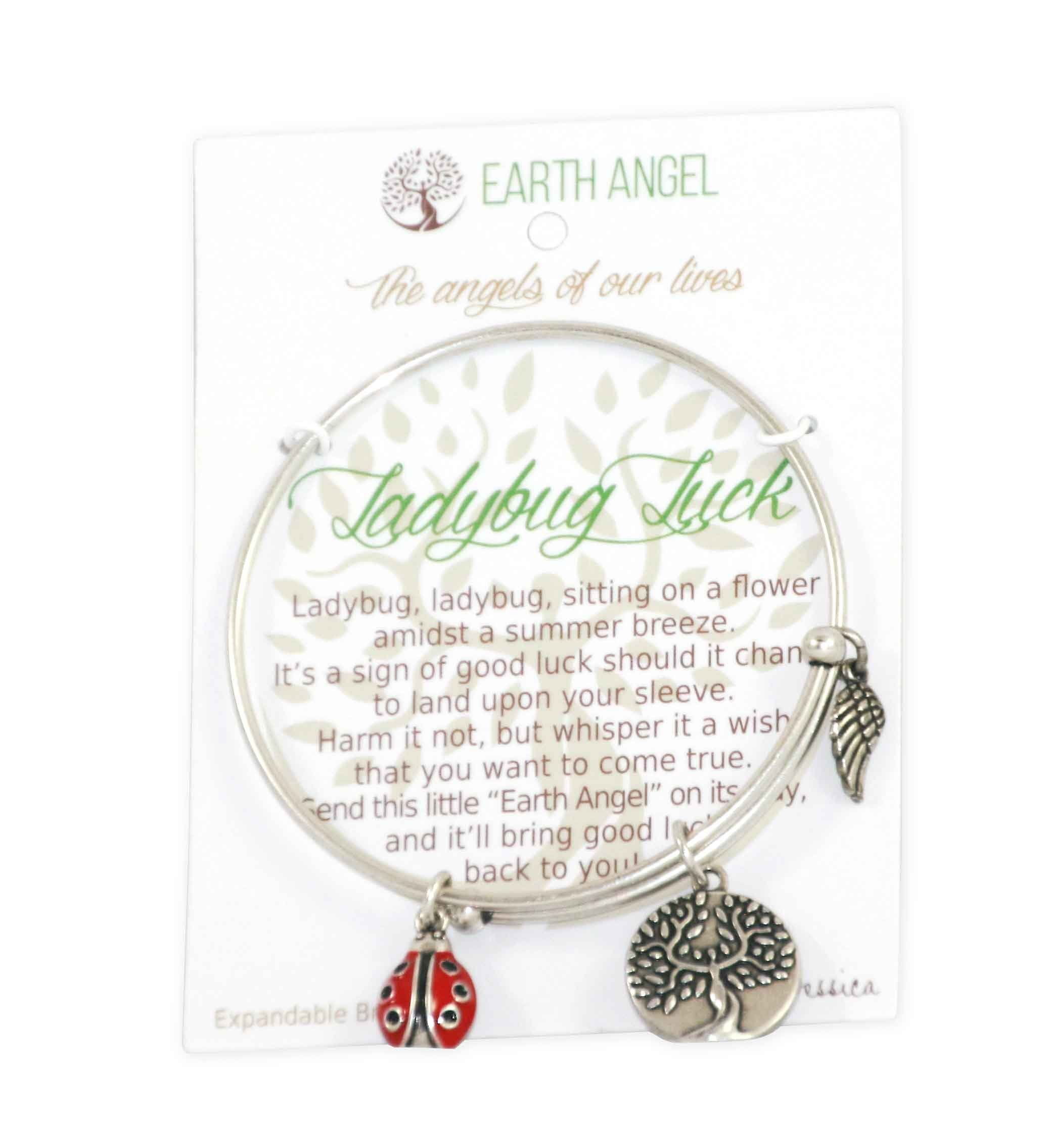 Earth Angels Ladybug Luck Bangle Charm Bracelet Silvertone