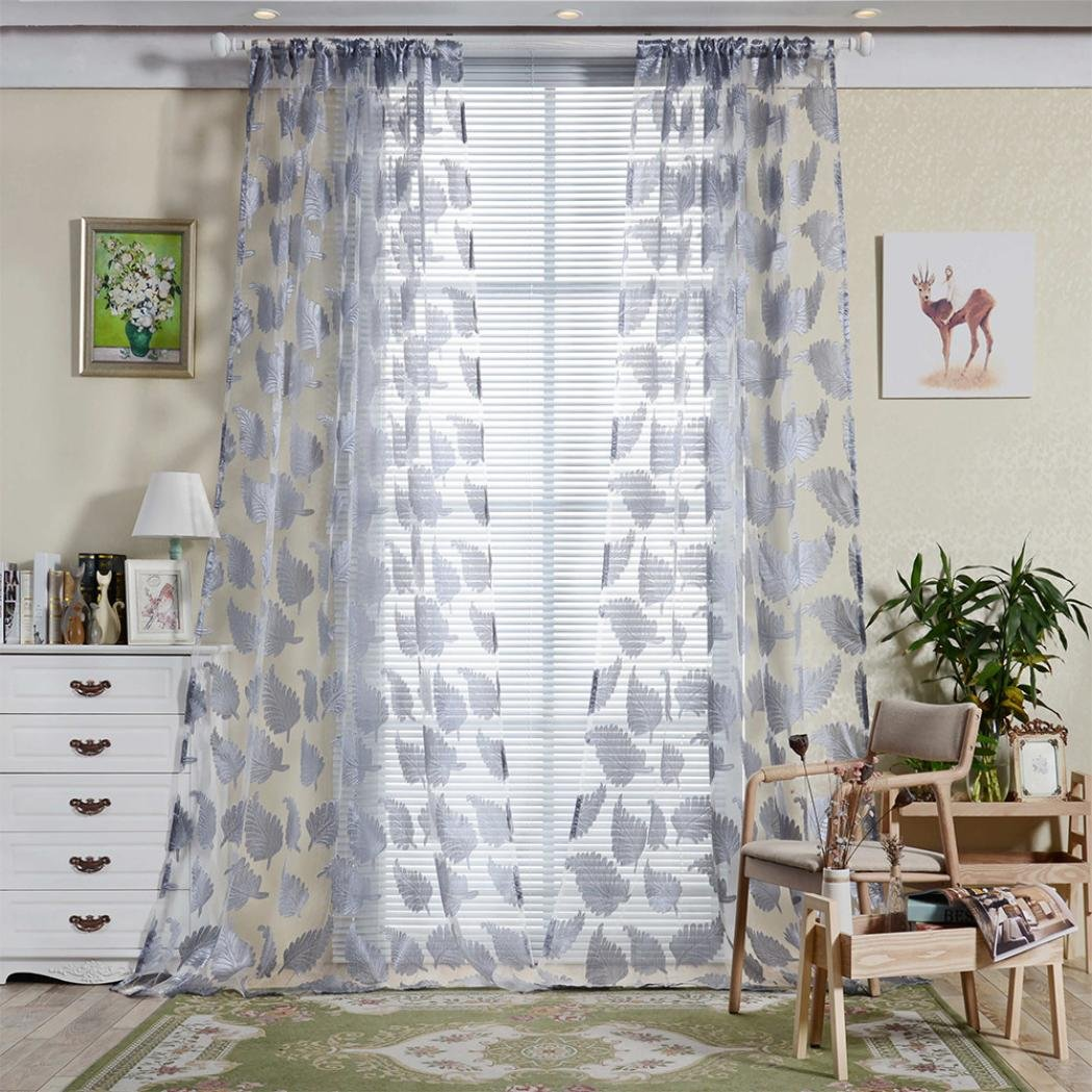 IGEMY Feather Sheer Curtain Tulle Window Treatment Voile Drape Valance 1 Panel Fabric (Yellow) TRTA11A