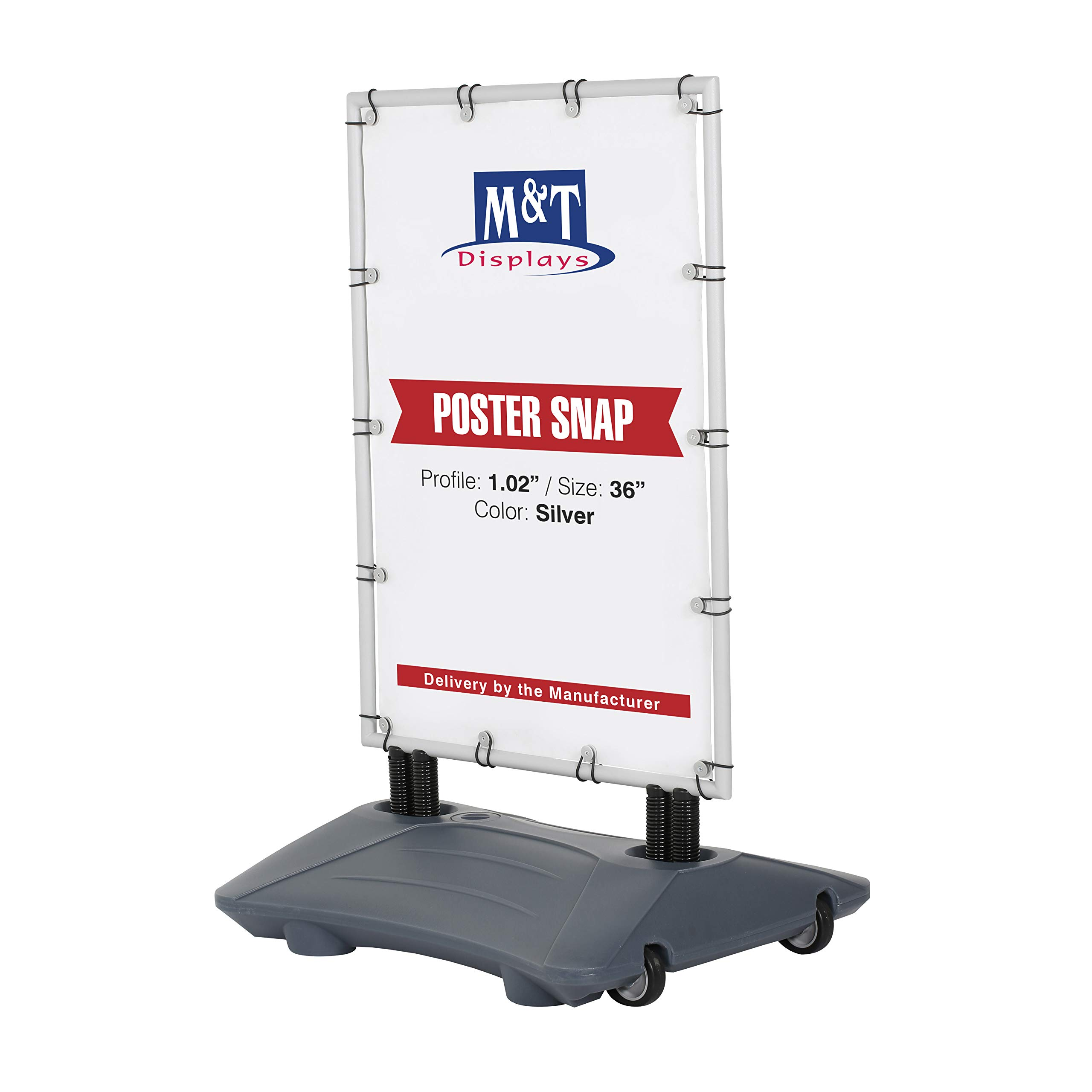 Outside Advertising Display Banner Wind Pro, 24x36 Poster Size, Silver Frame, Grey Water Base, Wind Resistant, Durable