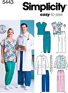 product image for Simplicity Easy To Sew Men and Women's Scrubs and Doctor's Outfit Costume Sewing Pattern, Sizes XL-XXXL