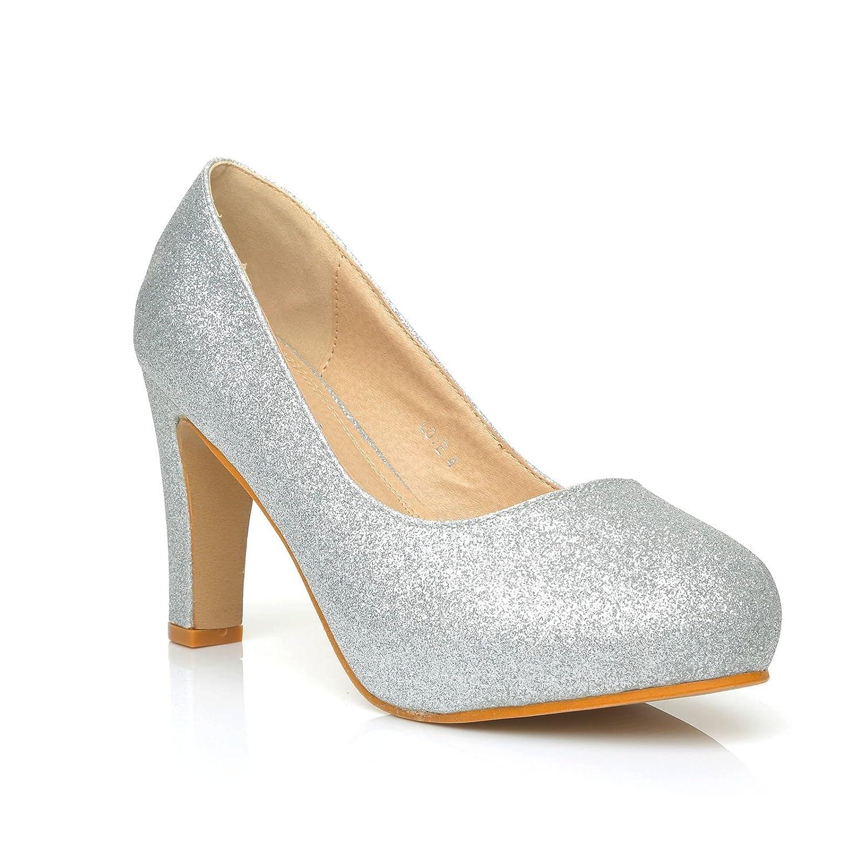 ShuWish UK Love Silver Glitter Slim-Block High Heel Platform Court Shoes:  Amazon.co.uk: Shoes & Bags