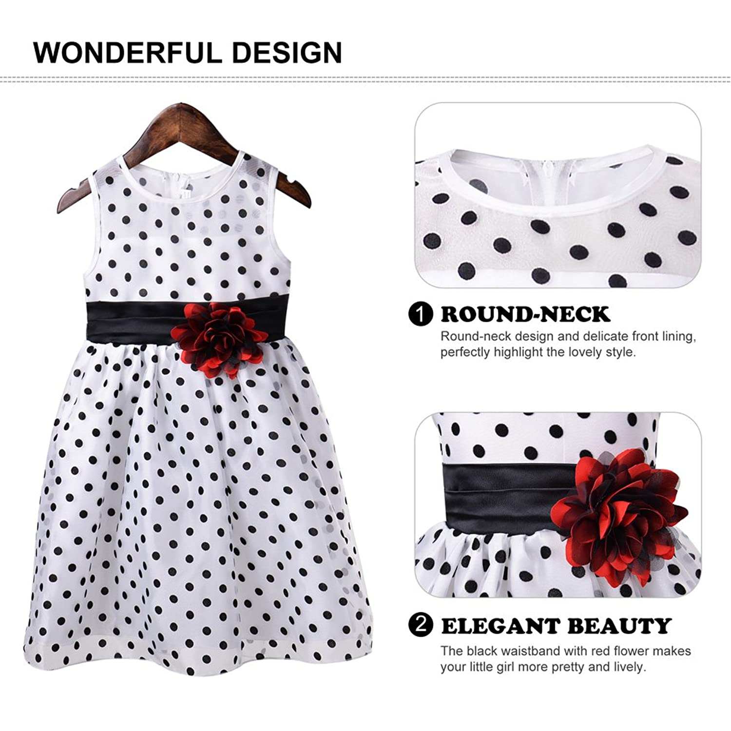 Amazon Okidso Sleeveless Princess Dress Polka Dots Skirt White