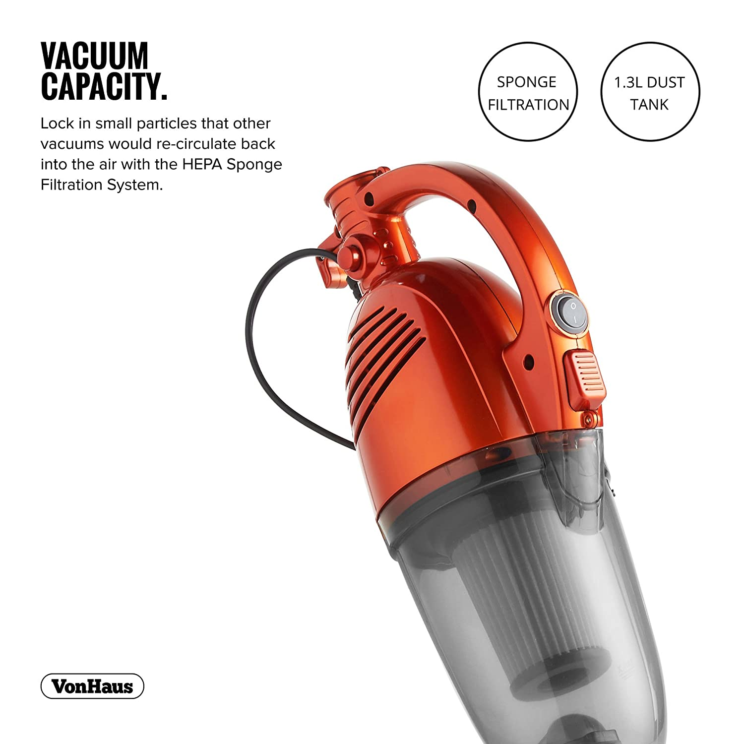 VonHaus 600W 2 In 1 Corded Upright Stick Handheld Vacuum Cleaner With HEPA Filtration