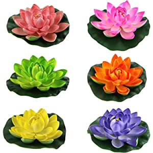 Lightingsky Artificial Floating Foam Lotus Flower Pond Decor Water Lily (6 Colors-2, Meduim-18cm)