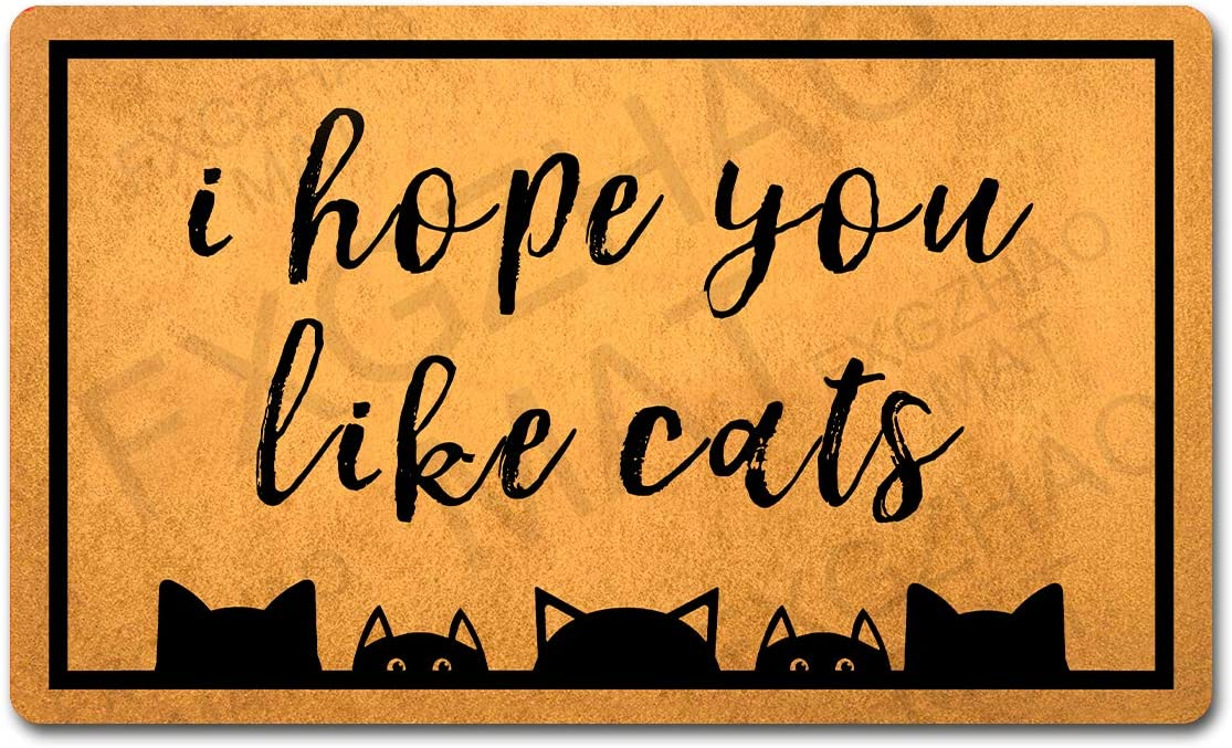 """Welcome Mat 30""""(L) x 18""""(W) Funny Doormat for Entrance Way Indoor Mats No Slip Kitchen Rugs and Mats (I Hope You Like Cats Welcome Funny Doormat Cats Cute Mat)"""