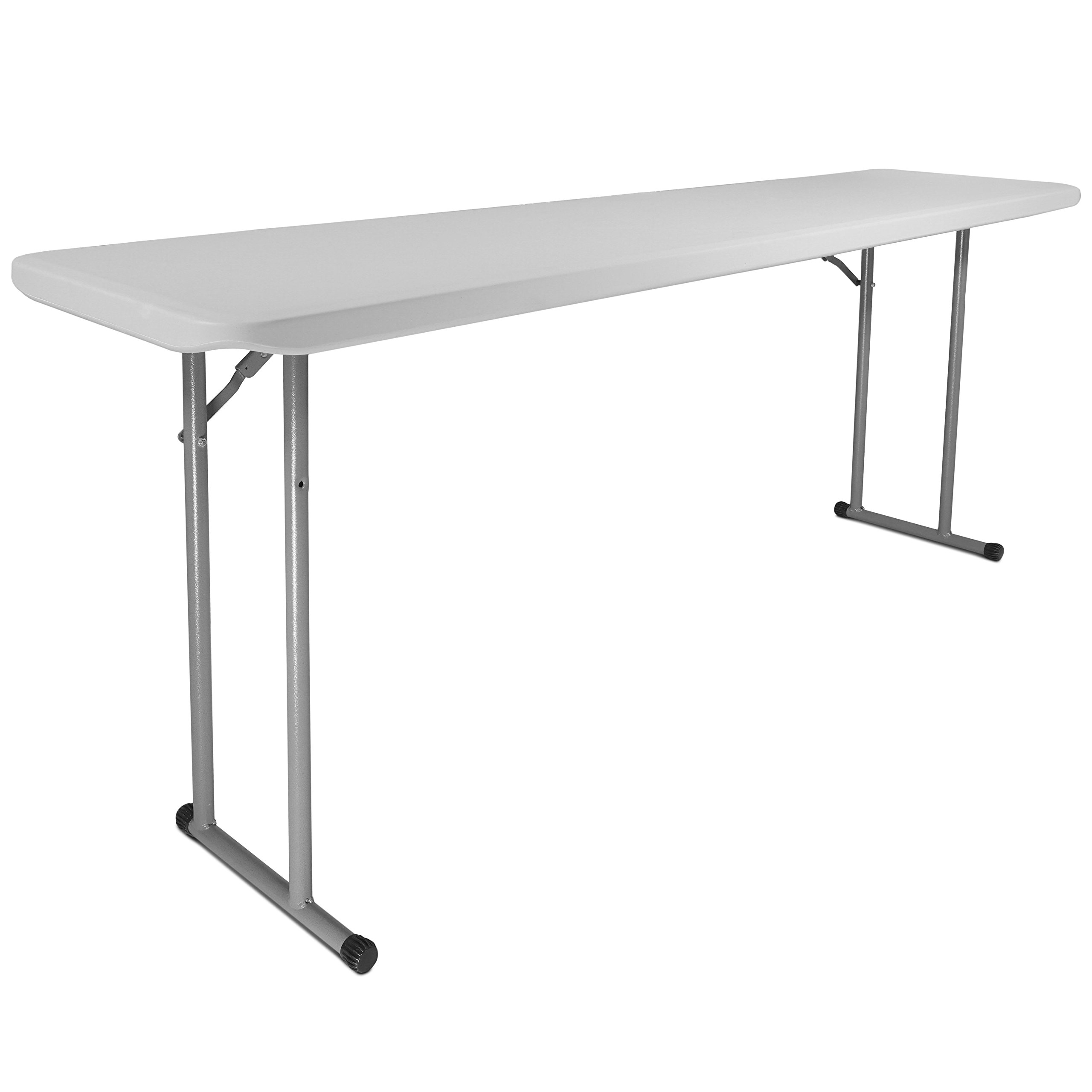 Titan 18''x72'' Plastic Seminar Table Speckled White Solid w/ Folding Legs Indoor